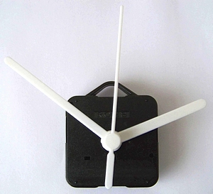 Clock movement with white hands